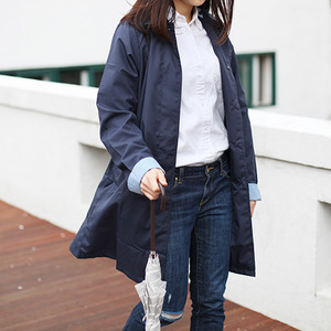 because Soutien Collar Coat 레인 코트 -  NAVY